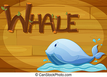 A wooden frame with a whale