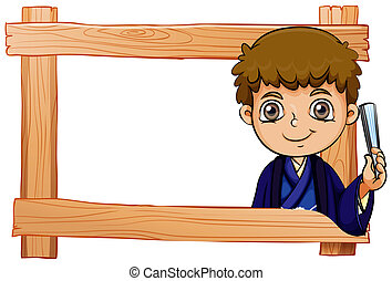 A wooden frame with a young boy