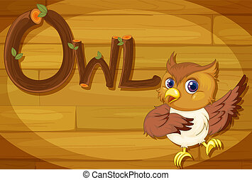 A wooden frame with an owl