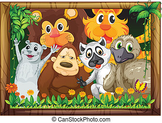 A wooden frame with animals