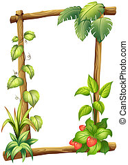 A wooden frame with different leaves
