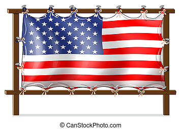 A wooden frame with the American flag