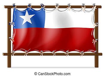 A wooden frame with the flag of Chile