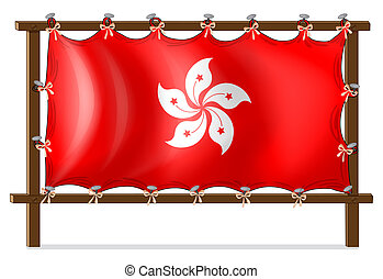 A wooden frame with the flag of Hongkong