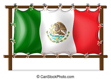 A wooden frame with the flag of Mexico