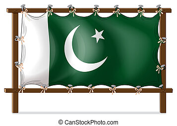 A wooden frame with the flag of Pakistan