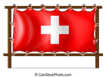 A wooden frame with the flag of Switzerland