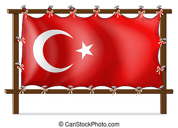 A wooden frame with the flag of Turkey