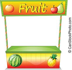 A wooden fruit cart