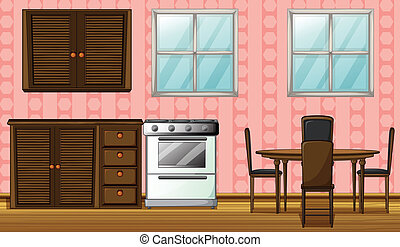 A wooden furniture and gas stove