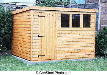 A wooden garden shed - A newly built wooden garden shed ...