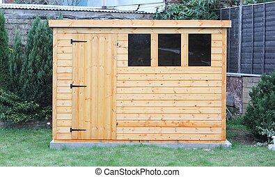 A wooden garden shed - A newly built wooden garden shed...
