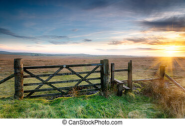 A wooden gate leading on to open moorland on Bodmin Moor in Cornwall