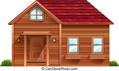 A wooden house - Illustration of a wooden house on a white ...