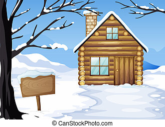 A wooden house near the empty signboard - Illustration of a ...