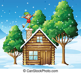 A wooden house with a playful elf at the rooftop