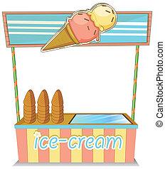 A wooden icecream stand