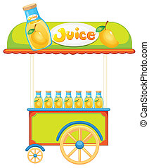 A wooden juice cart - Illustration of a wooden juice cart on...