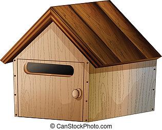 A wooden mailbox
