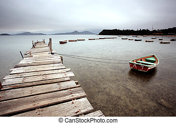 a wooden pier and boats
