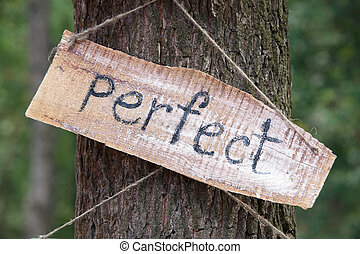 A wooden plaque with the word - perfect