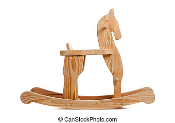 A wooden rocking horse on white