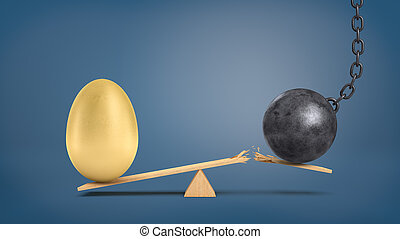 A wooden seesaw with a huge golden egg overweighing a wrecking ball that breaks the plank.