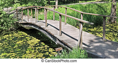A wooden self-made arched bridge across an algal stream. - A...