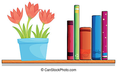 A wooden shelf with a pot of flower and books