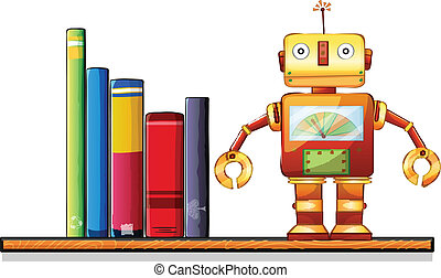 A wooden shelf with a robot and books