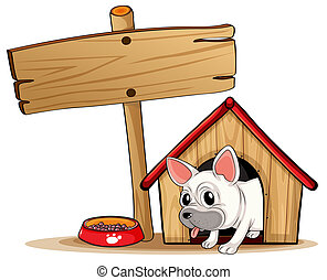 A wooden signboard beside a doghouse