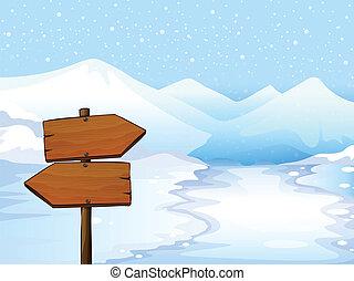 A wooden signboard