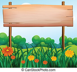 A wooden signboard in the garden - Illustration of a wooden...