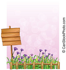 A wooden signboard in the garden with lavender flowers