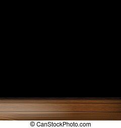 a wooden table on a black background