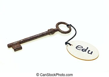 "A wooden tag with ""edu"" text on old rusty key, isolated on white background"