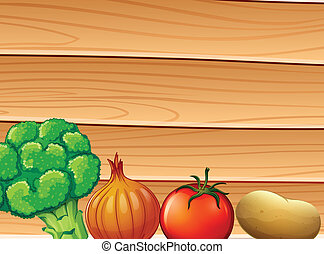 A wooden wall at the back of the spices and vegetables