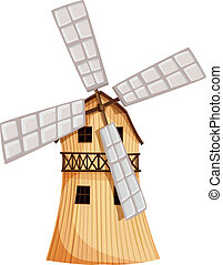 A wooden windmill