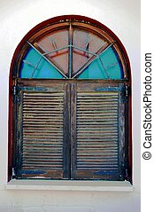 A wooden window.