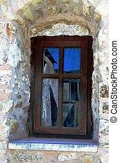A wooden window