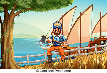 A woodman at the forest near the sea with a ship
