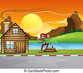 A woodman beside the wooden house - Illustration of a...