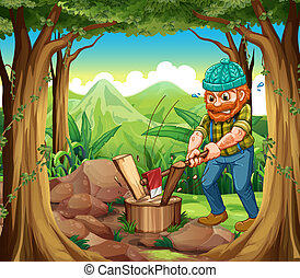 A woodman chopping the woods in the forest near the rocks