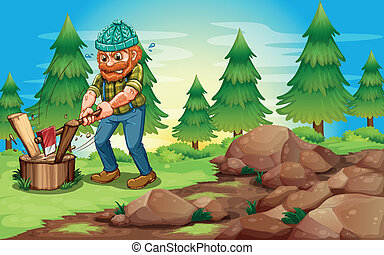 A woodman chopping the woods near the rocks