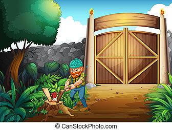 A woodman chopping woods