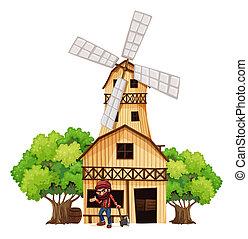 A woodman holding an axe beside the wooden building -...