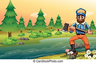 A woodman near the river