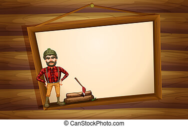 A woodman standing in front of the hanging empty board