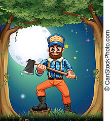 A woodman standing in the middle of the trees - Illustration...