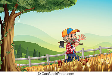 A woodman walking at the hill happily